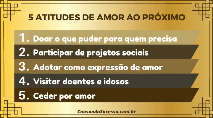 % Sugestões de Atitudes de Amor ao Próximo